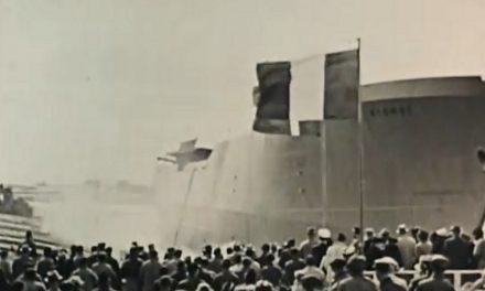 Tværskibs stabelafløbning på A/S Odense Staalskibsværft